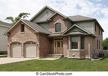 nye, mursten, konstruktion, hjem