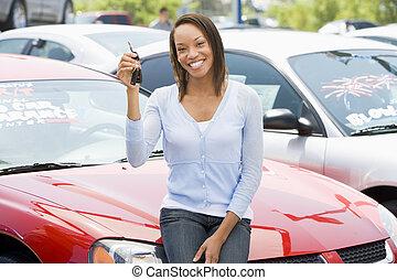 nye, picking, kvinde, automobilen