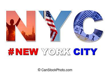 nye, rejse, byen, york, turist