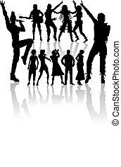 nye, sæt, sang, dansende, folk