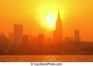 nye, silhuet, york, byen