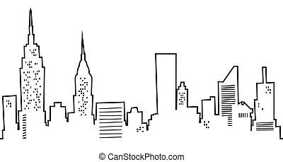 nye, skyline, cartoon, york