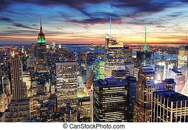 nye, solnedgang, york, byen