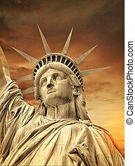 nye, statue, york, frihed