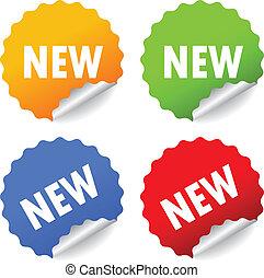 nye, vektor, stickers