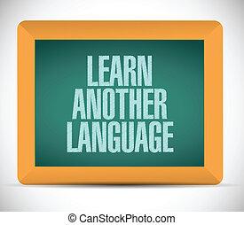 nyelv, ábra, aláír, másik, tanul, üzenet