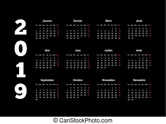 nyelv, egyszerű, francia, fekete, év, 2019, fehér, naptár