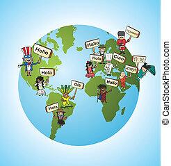 nyelvek, fogalom, fordít, globális
