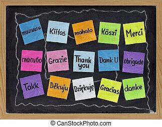 nyelvek, különböző, ön, hálát ad