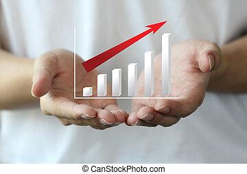 nyereség, diagram, képben látható, kéz, személyes, befektetés
