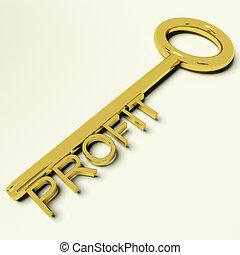 nyereség, gold kulcs, előad, piac, és, kereskedelem, siker