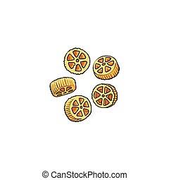 nyers, főtlen, wagon tol, alakú, olasz, főtt tészta