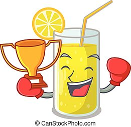 nyertes, citrom, pohár, ökölvívás, lé, friss, karikatúra