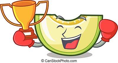 nyertes, kellemes, ökölvívás, szelet, zöld, dinnye, friss, karikatúra