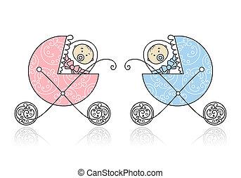nyfödd, design, buggy, baby, din