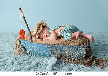 nyfödd, pojke, fiskare, baby, utrustning