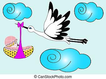 nyfödd, sky, stork, barn, transporter
