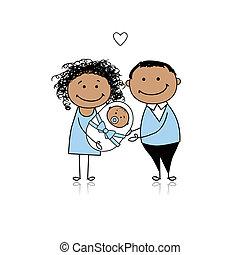 nyfødt baby, forældre, glade