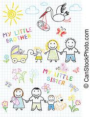 nyfødt, familie, glade