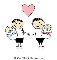 nyfødt, forældre, tvillinger, glade