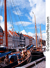 nyhavn, bateaux, bâtiments, denmark., copenhague