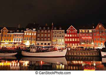 Nyhavn Copenhagen Denmark on summer night