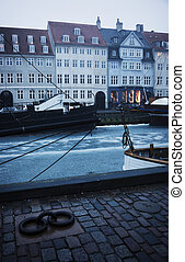 nyhavn, copenhague, -, hiver, matin