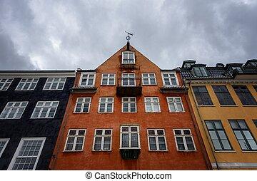 nyhavn, couleur, bâtiments, jetée