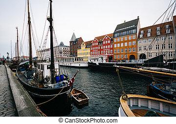 nyhavn, denmark., kanal, kopenhagen
