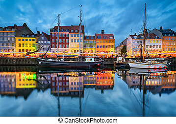 nyhavn, do, kodaň, dánsko
