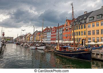 nyhavn, hurbour, nyhavn, denmark., bateaux, calme, copenhague, bateaux