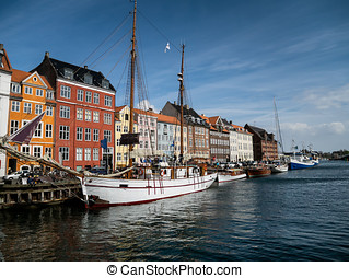 Nyhavn in Copenhagen harbor, Denmark