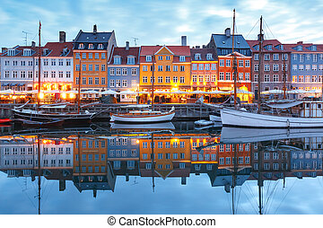 nyhavn, panorama, denmark., copenhague