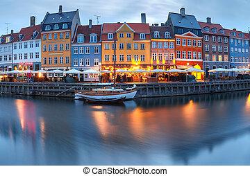 nyhavn, panorama, denmark., kopenhaga