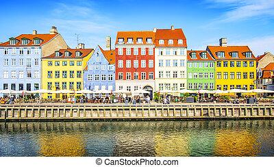 nyhavn, port, copenhague, danemark