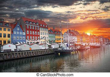 nyhavn, port, copenhague, vieux