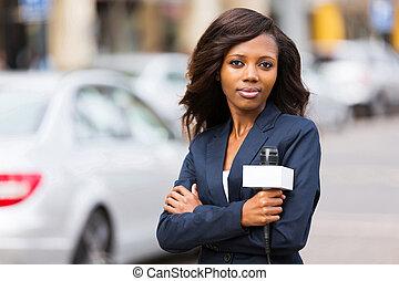 nyhed, afrikansk, unge, kvindelig, referent