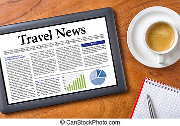 nyhed, rejse, -, tablet, skrivebord