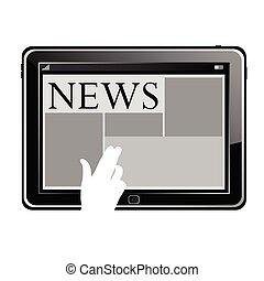 nyhed, vektor, tablet