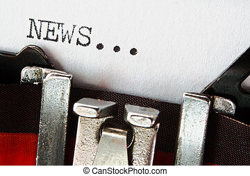 nyheterna, text, på, retro, skrivmaskin