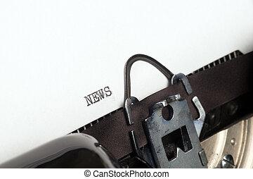 nyheterna, text, på, skrivmaskin