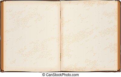 nyitott könyv, öreg, apródok, tiszta