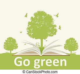 nyitott könyv, fa parkosít