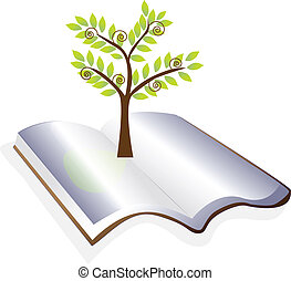 nyitott könyv, noha, fa, jel, vektor