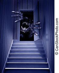 nyitott kapu, szörny