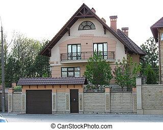 nylig, constructed, hus, moderne, europæisk, hjem