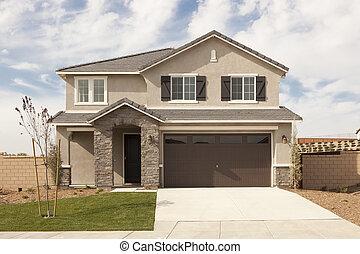 nyligen, constructed, nymodig, hem, fasad