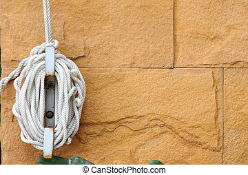 Nylon rope tied to the wall