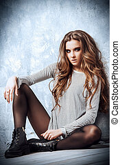 nylon stockings - Sexual young woman with beautiful long...