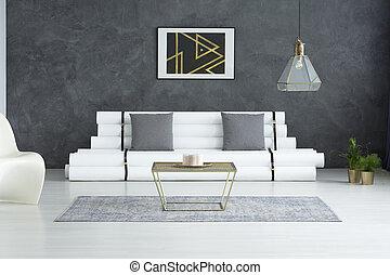 nymodig, affisch, ovanför, designer, soffa